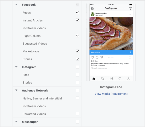 Select Facebook placements only for Ad Set A