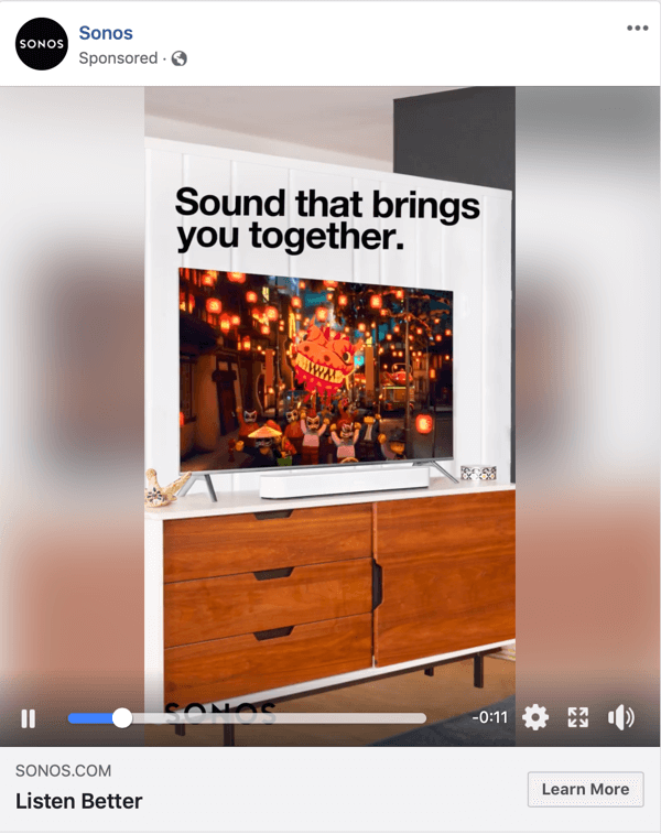 Example of a Facebook Video ad by Sonos.