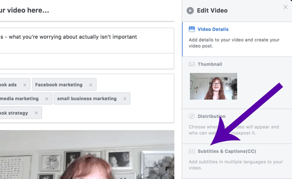 Facebook video post showing the Subtitles & Captions checkbox.