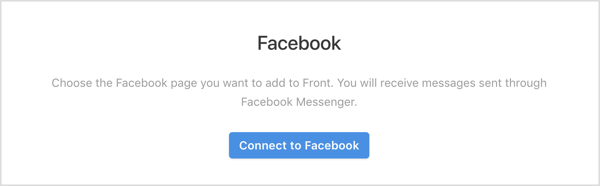 Click the Connect to Facebook button in Front app.