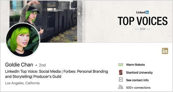 Goldie Chan's LinkedIn profile.