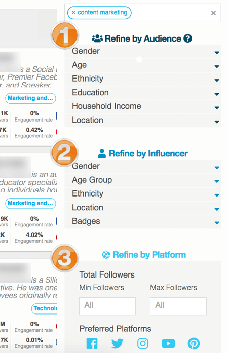 hypr search refine audience influencer platform options