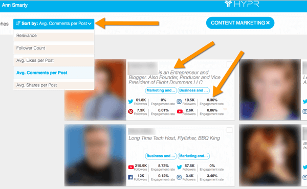 hypr influencer search sort and stats example