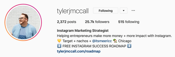 Example of Instagram Business profile pic and bio information by @tylerjmccall.