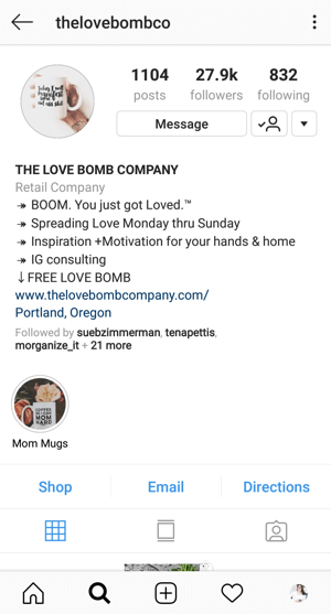 Example of Instagram Business profile bio with offer by @thelovebombco.