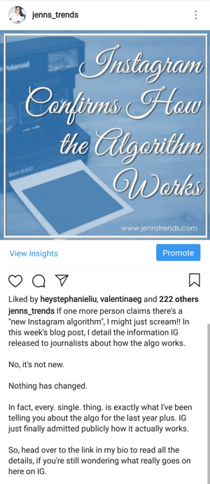 Instagram post with call to action for bio link click by @jenns_trends.