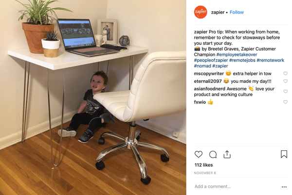 Example of an employee takeover of the Zapier Instagram account.