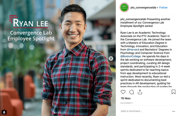 Example of an employee spotlight Instagram post by PTC Convergence Lab.