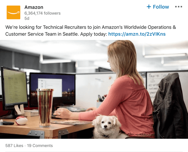 Amazon LinkedIn company page post example.