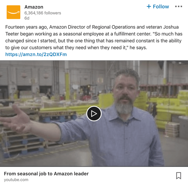 Amazon LinkedIn company page video post example.