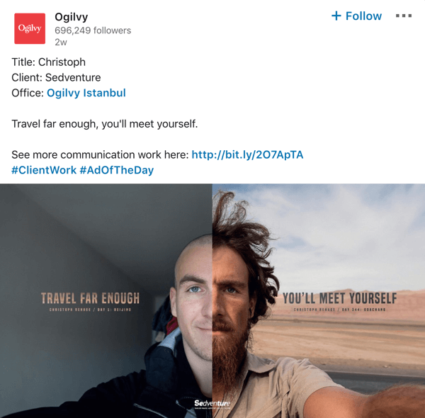 Ogilvy LinkedIn company page post example.