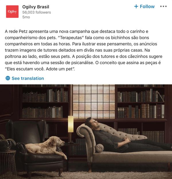 Ogilvy LinkedIn company page post example.