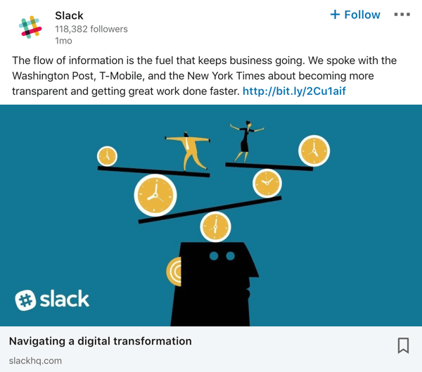Slack LinkedIn company page post example.
