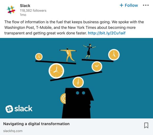 Slack LinkedIn company page post example.