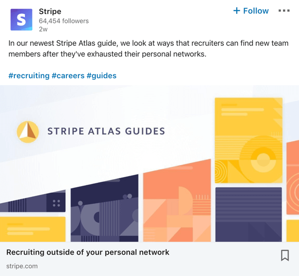 Stripe LinkedIn company page post example.