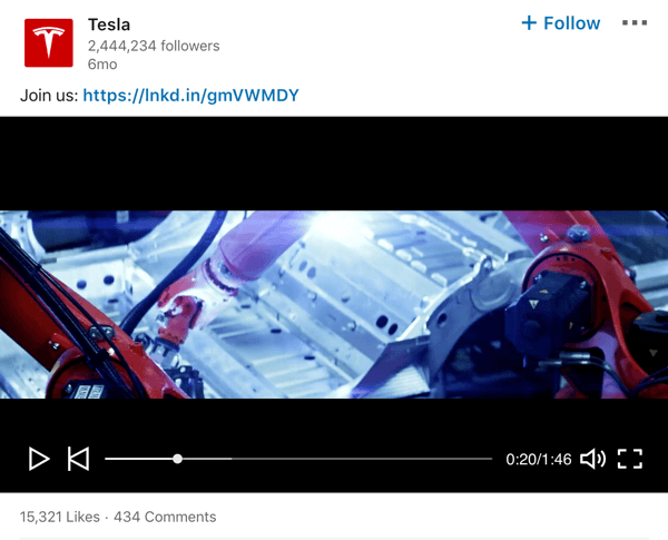 Tesla LinkedIn company page video post example.