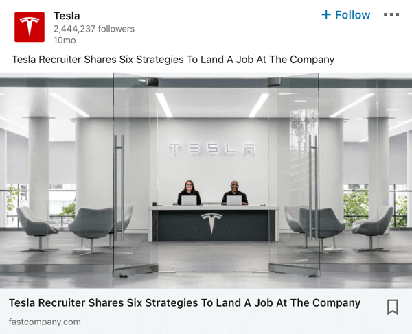 Tesla LinkedIn company page post example.