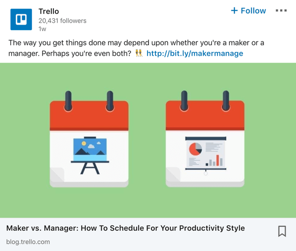 Trello LinkedIn company page post example.
