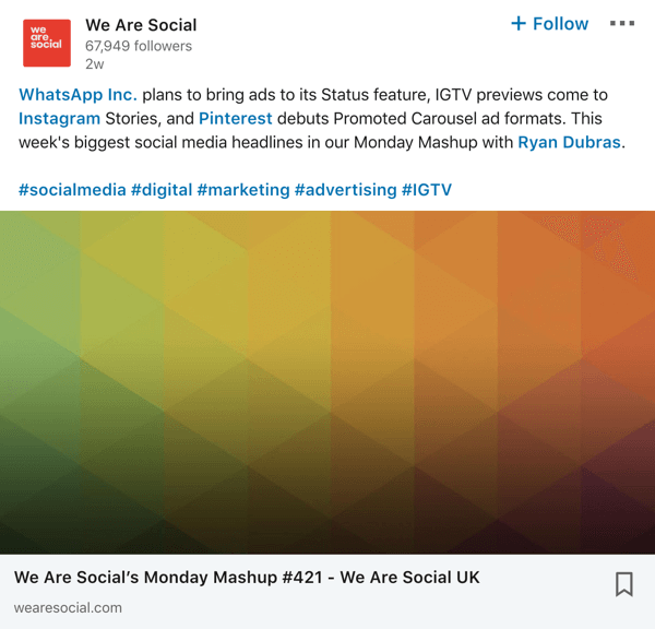 We Are Social LinkedIn company page post example.