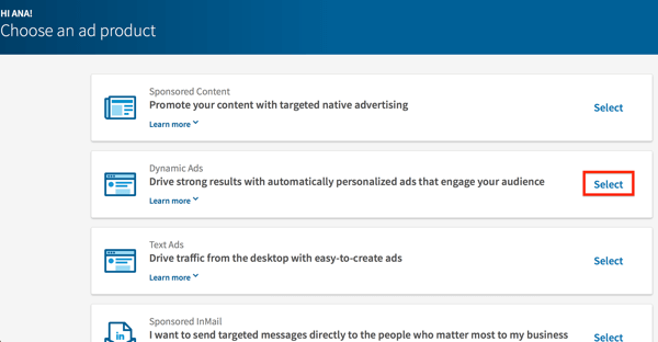 Select Dynamic Ads from the LinkedIn ad product list.