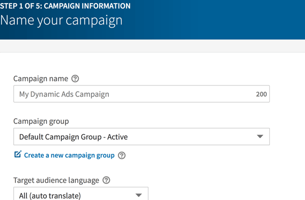 Sample of LinkedIn dynamic ad campaign details.
