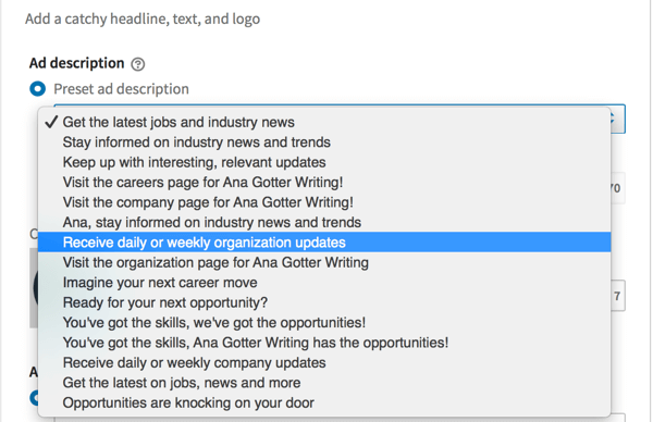 LinkedIn's preset ad descriptions available for some dynamic ad formats.