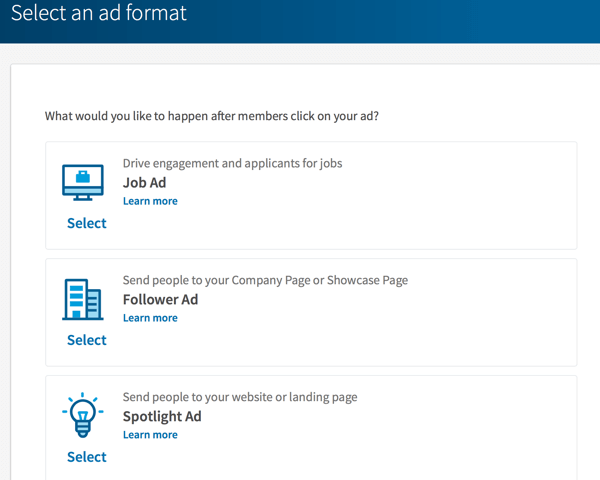 LinkedIn dynamic ads format options.