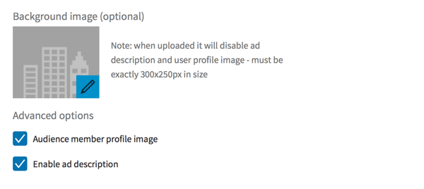 LinkedIn dynamic ads background image and advanced options.