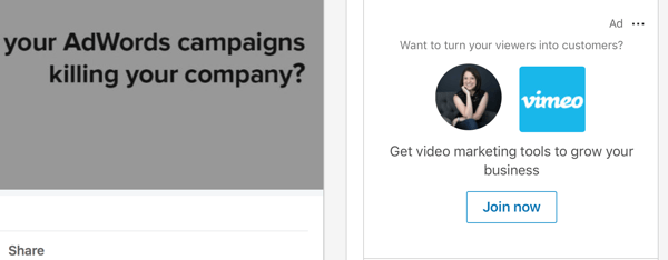 Sample of a LinkedIn Dynamic Content ad.