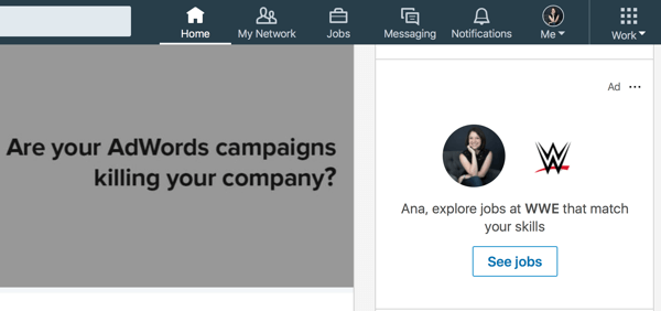 Example of targeted LinkedIn dynamic ad.