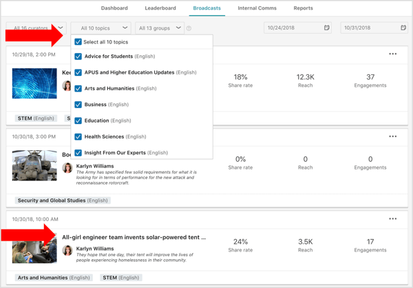 LinkedIn Elevate Broadcasts tab filters