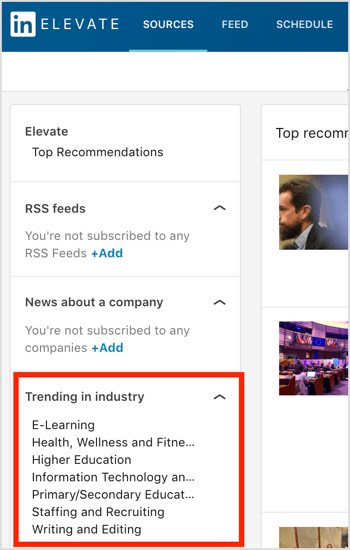 LinkedIn Elevate Trending in Industry list