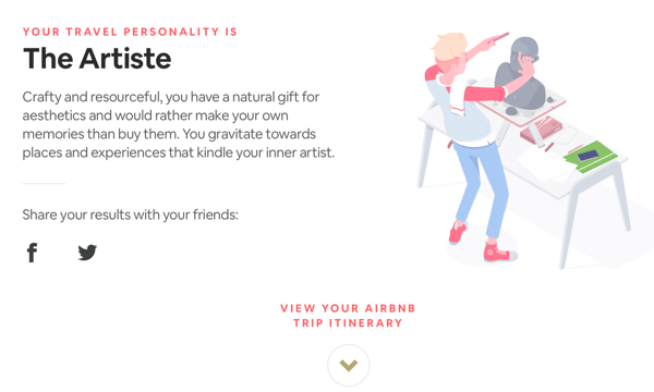 Example outcome from Airbnb's Trip Matcher quiz.