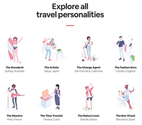 Example of an all outcomes page with results the user can explore from Airbnb's Travel Matcher quiz.