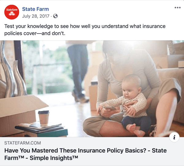 Example of a quiz shared on social media by State Farm.
