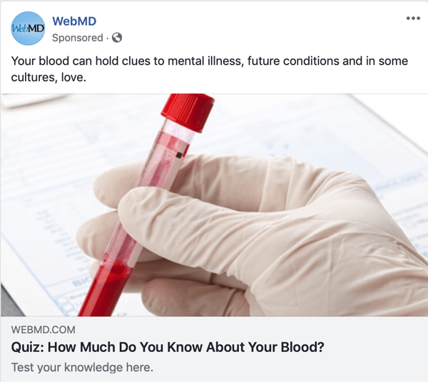 Example of a sponsored quiz by WebMD.