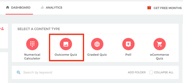 Select Outcome Quiz from the Outgrow dashboard.