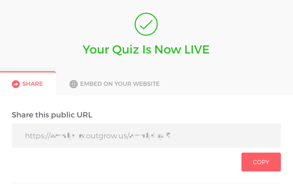 Link to share your live Outgrow quiz.