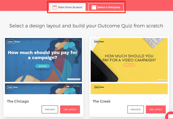 Template examples for your Outgrow quiz.