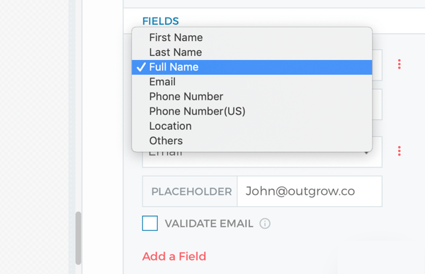 Lead generation form settings for your Outgrow quiz.