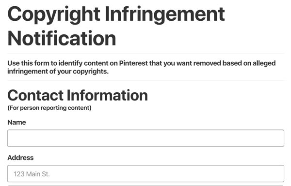 pinterest copyright infringement notification form