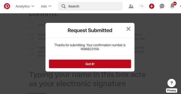 pinterest report stolen pin request submitted with confirmation number