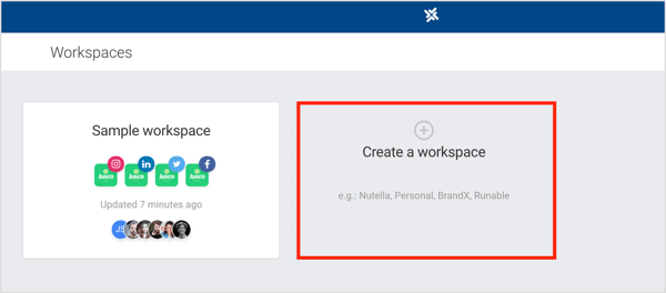 Click Create a Workspace in Planable.