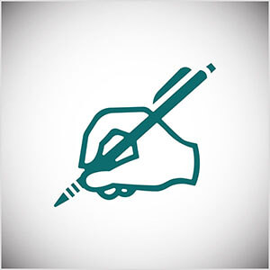This is a teal line illustration of a hand writing with a pencil. Seth Godin practices daily writing on his blog.