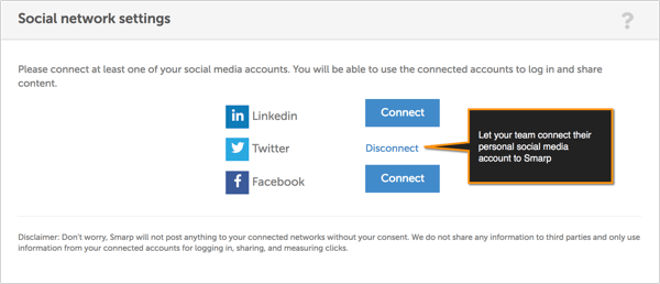 smarp connect or disconnect social account