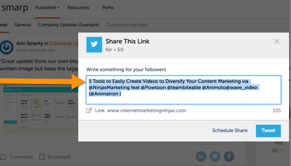 smarp twitter share auto fill with influencer tags