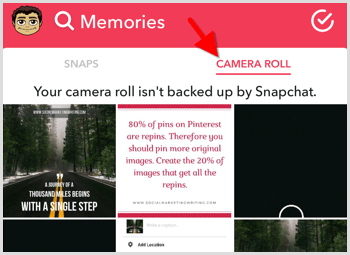 snapchat share photo from camera roll