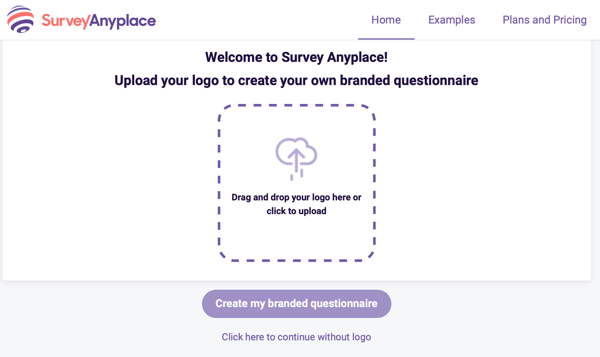 Survey Anyplace welcome and logo upload for a branded questionnaire.