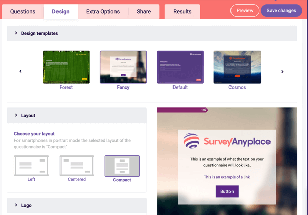 Survey Anyplace Design template and layout settings for your questionnaire.