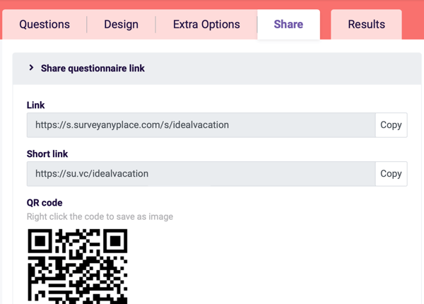 Example of the Share tab and sharing links for your Survey Anyplace questionnaire.